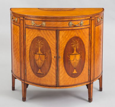 George III Satinwood Demi-Lune Console Cabinet, Circa 1790
