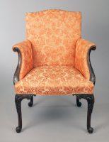 George II Carved Mahogany Bergere Armchair
