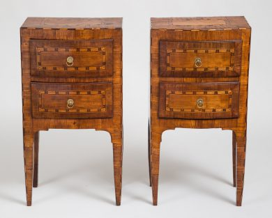 Pair Very Fine Italian Inlaid Walnut Commodini