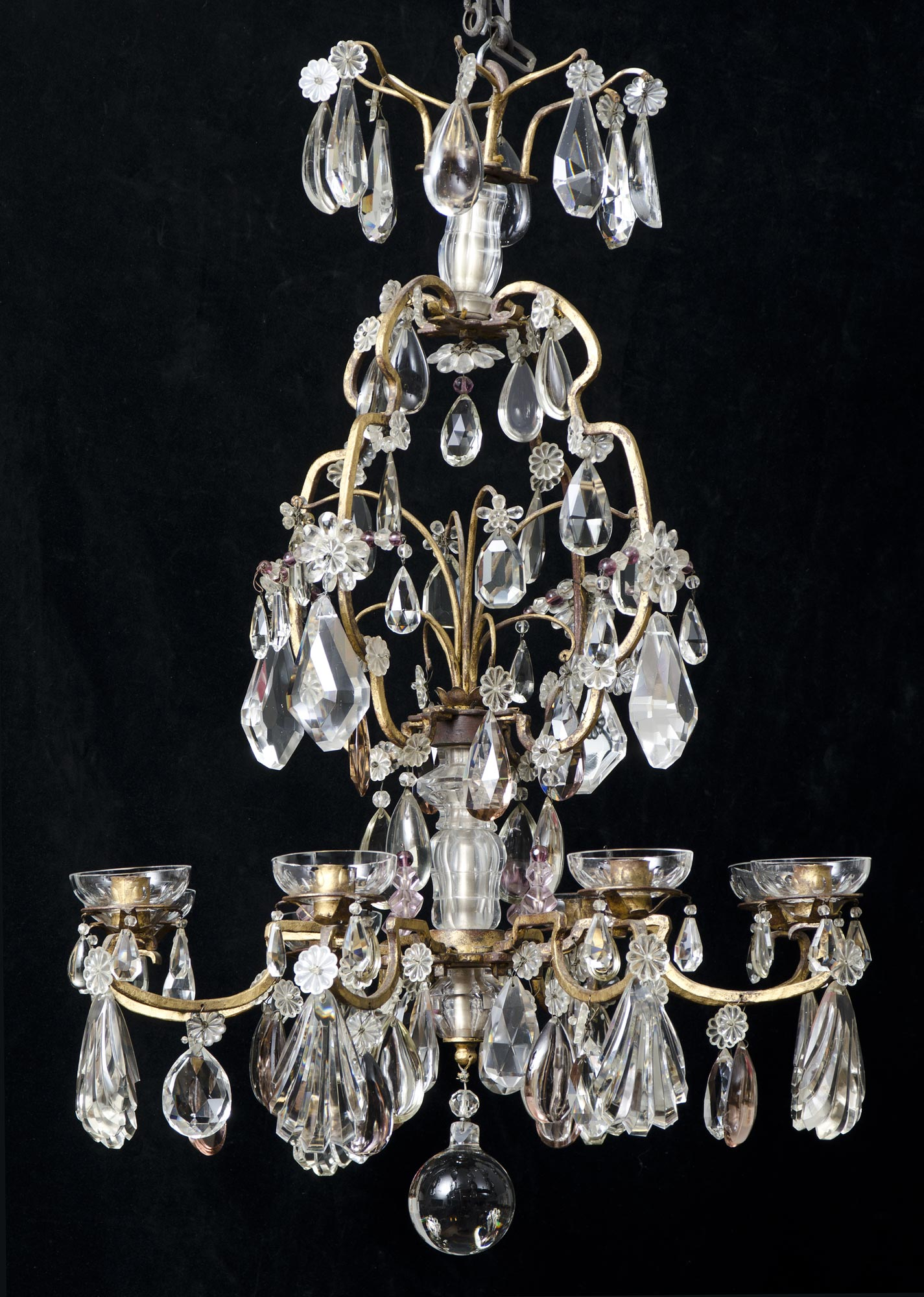 Eight Light Antique French Crystal Chandelier