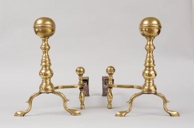 Pair of American Brass Boston Andirons, Circa 1800