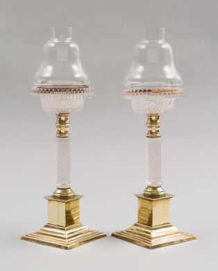 Pair of Antique Glass and Brass