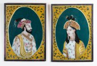 Pair Indian Reverse Glass Paintings