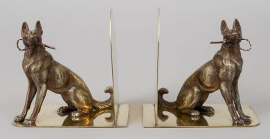 Pair Brass and Spelter German Shepherd Bookends
