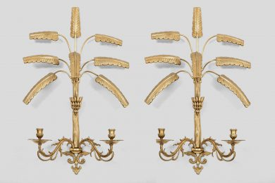 Wall Sconces With Banana Leaf Motif Cast In Brass