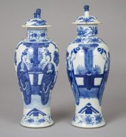 Pair Chinese Blue and White Vases with Lids