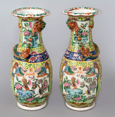 Pair Chinese Export Canton Open Vases