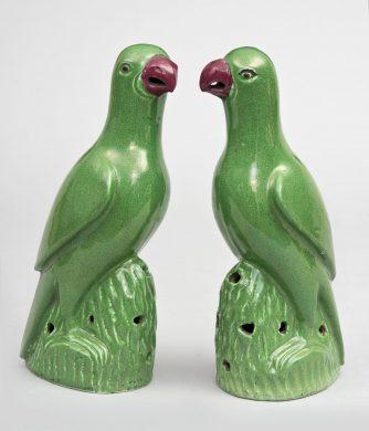 Pair Chinese Green Parrots, Circa 1820