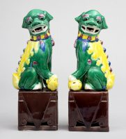 Pair Chinese Multicolored Foo Dogs