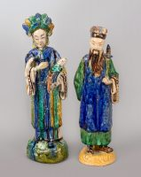 Pair Chinese Shiwan Ware Pottery Figures