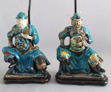 Pair Chinese Shiwan Ware Pottery Warrior Lamps