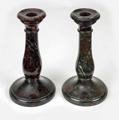 Pair Cornish Serpentine Marble Candlesticks