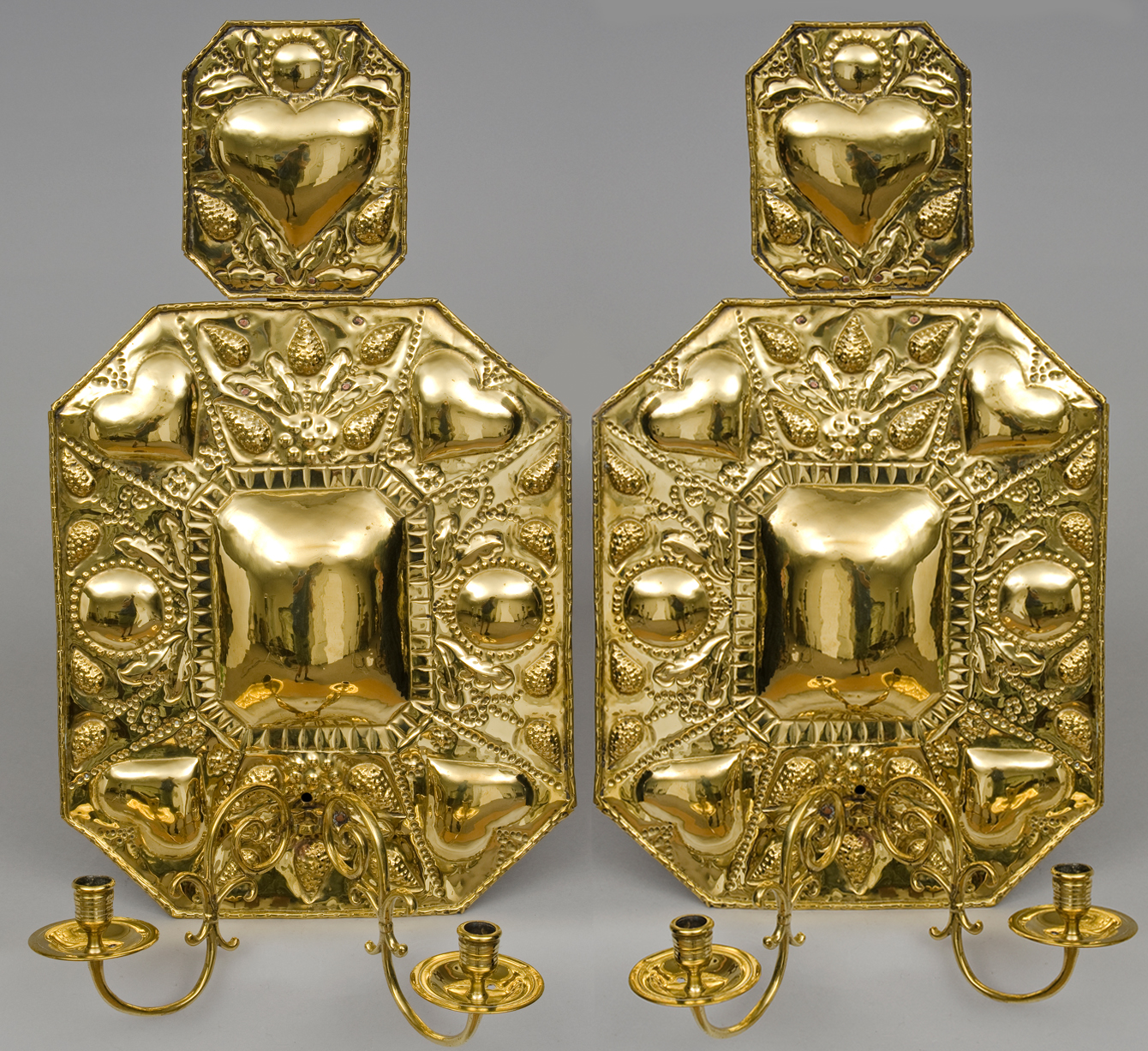 Old Brass Wall Sconces : Pair Dutch Antique Brass Wall Sconces, Circa 1820