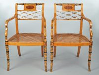Pair Edwardian Satinwood Armchairs