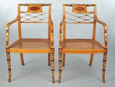 Pair Edwardian Satinwood Armchairs