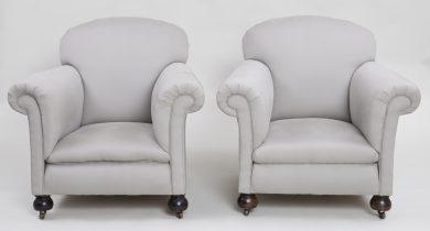 Pair English Club Chairs
