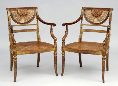 Pair English Regency Mahogany Painted & Caned Armchairs, Circa 1820