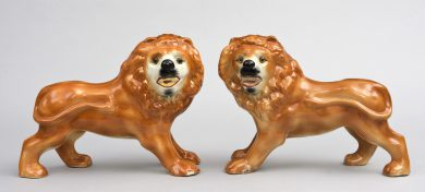Pair Staffordshire Standing Lions, Circa 1880