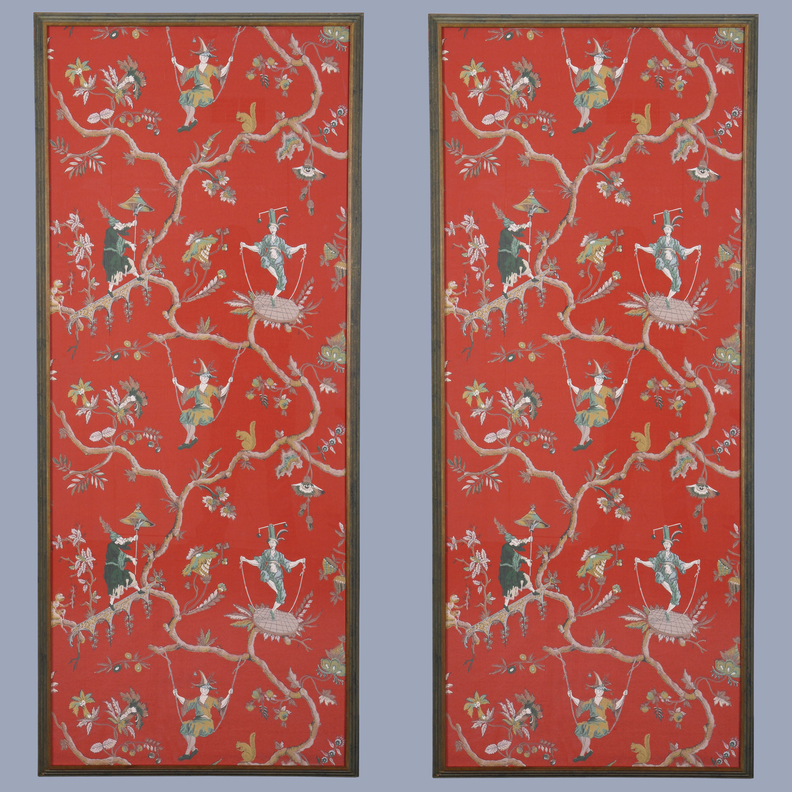 pair of french chinoiserie wallpaper panels circa