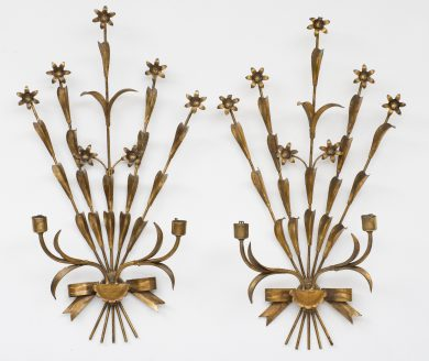 Pair French Gilt Metal Wall Sconces
