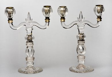 Pair French Glass Candelabra, Circa 1860