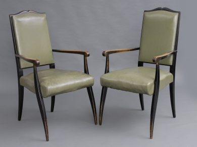 Pair French Mid Century Ebonized Open Armchairs, Circa 1940's