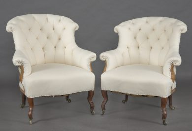 Pair French Napoleon III Armchairs, Circa 1860