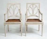 Pair French Grey Painted Armchairs