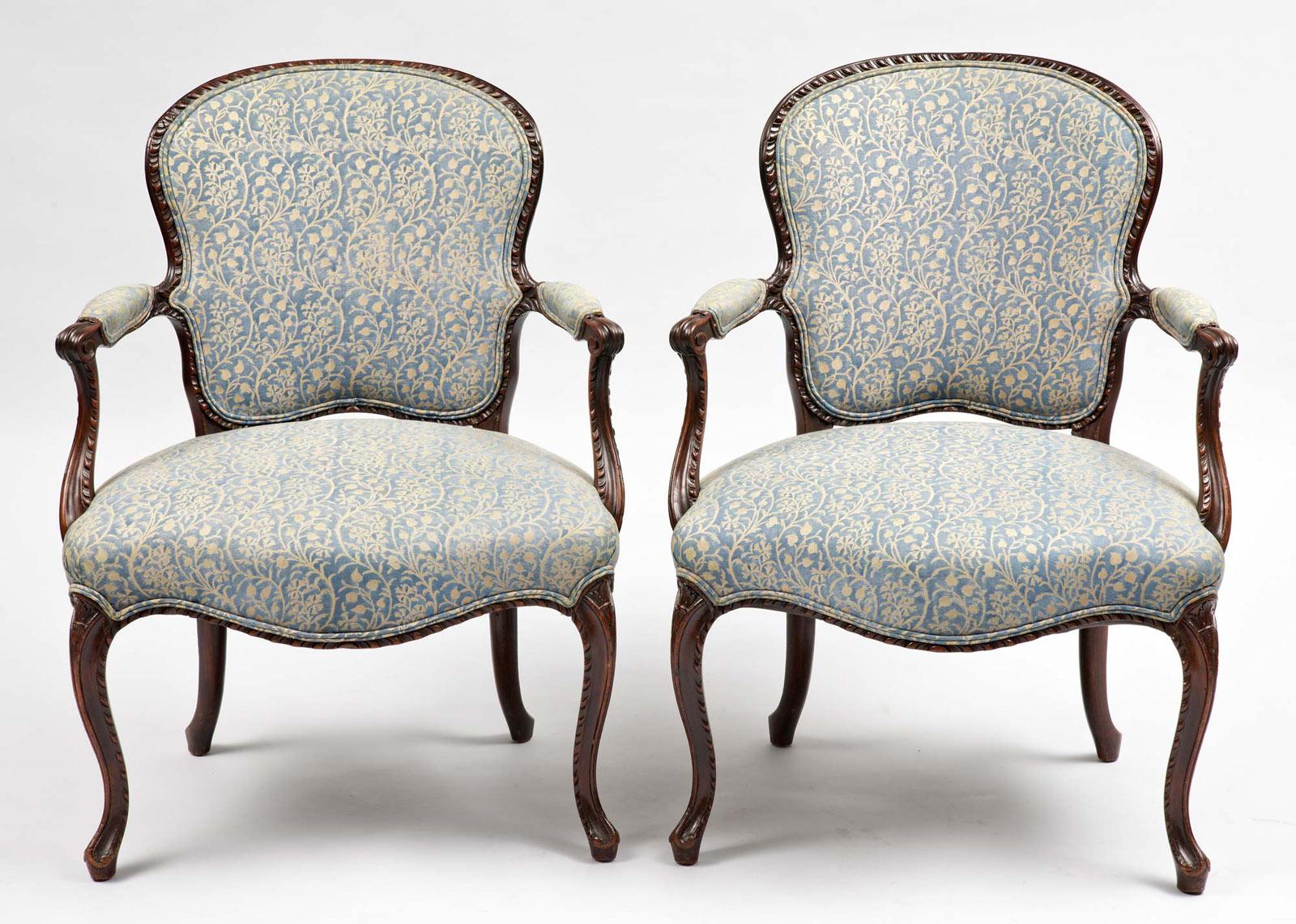 pair antique george iii mahogany armchairs