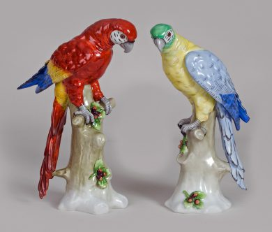 Pair of Sitzendorf Porcelain Parrots