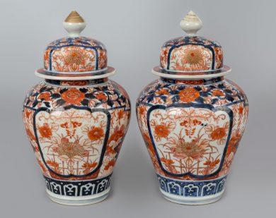 Pair Imari Vases with Lids, Circa 1880