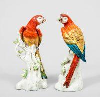 Pair of Antique Continental Porcelain Parrots, Circa 1880