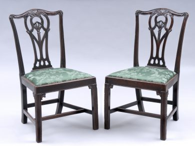 Pair of English Period Chippendale Mahogany Side Chairs,18th Century