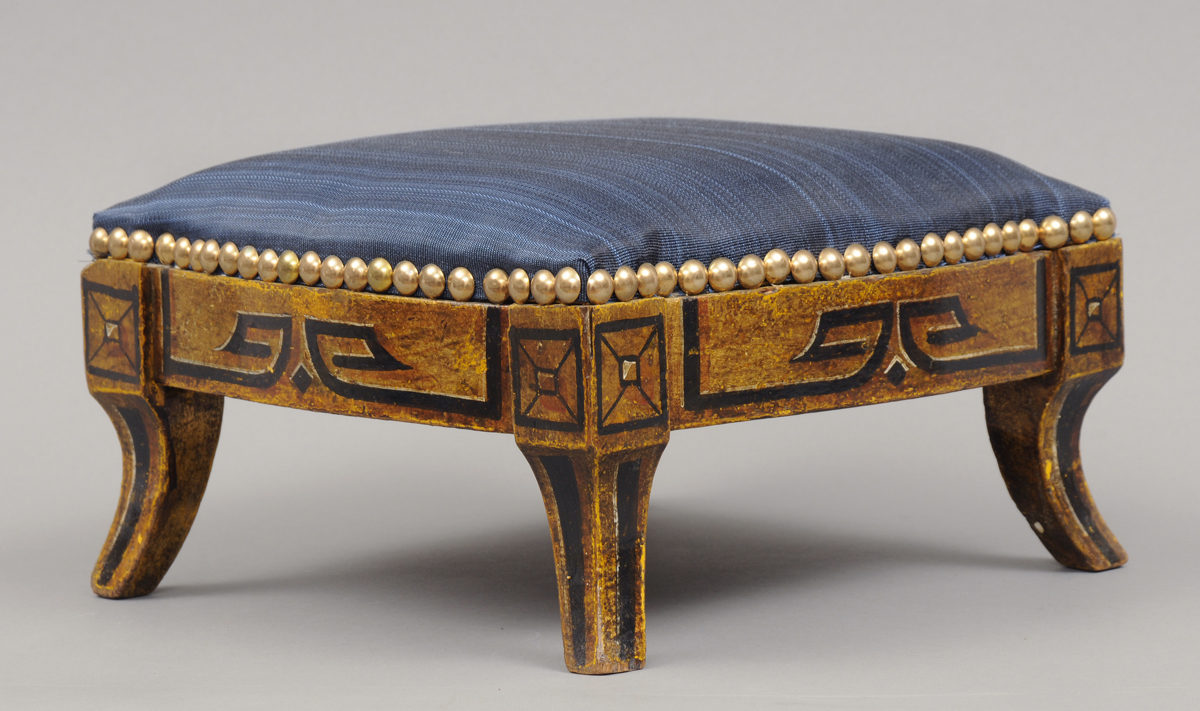 Small Regency English Gilded Antique Footstool Antique Stool