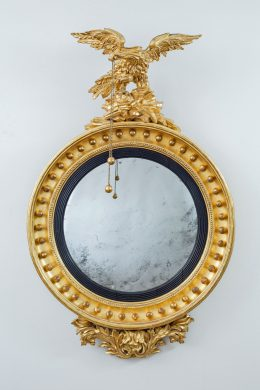 Regency Giltwood Convex Mirror with Eagle