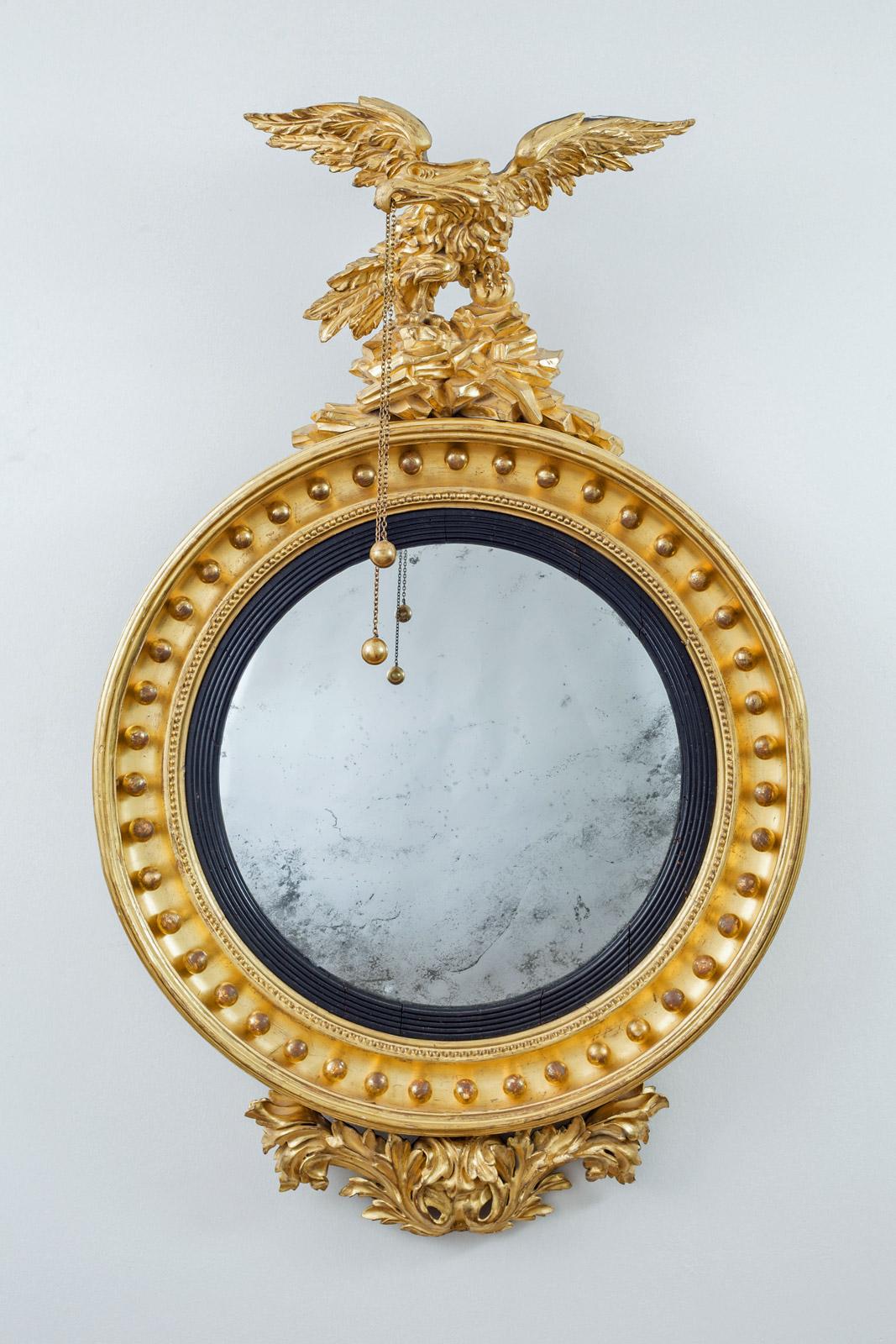 Regency Giltwood Convex Mirror With Eagle Surmount