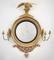 Regency Classical Gilt Convex Girandole Mirror