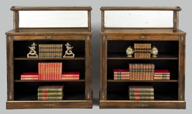 English Pair Regency Period Rosewood Bookcases, Circa 1820