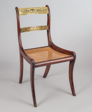 Regency Simulated Rosewood & Brass Side Chair