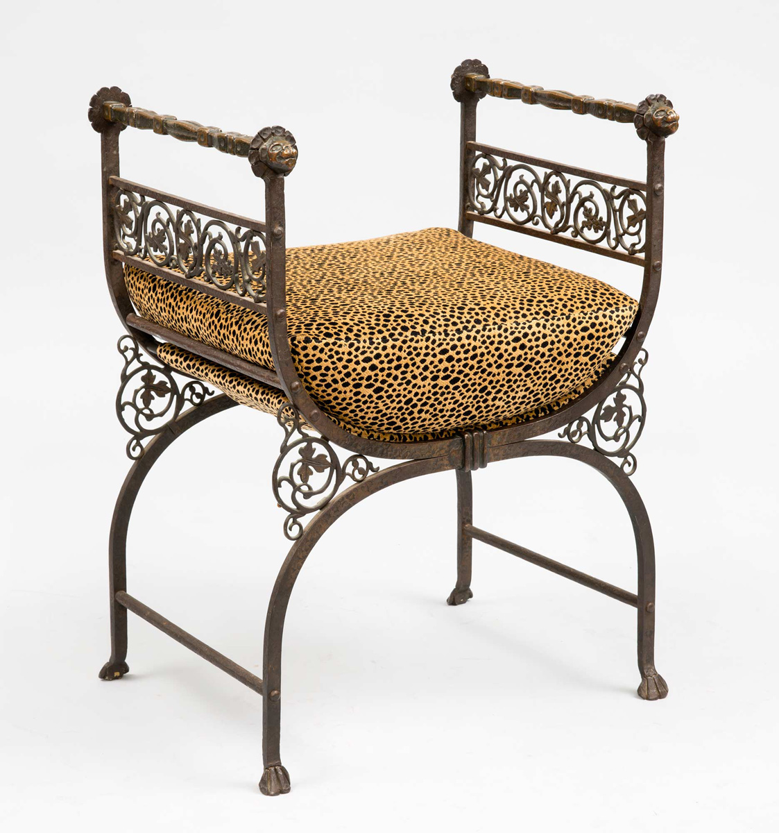 Savonarola Bronze Wrought Iron Antique Hall Bench