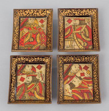 Set of Eight Chinese Canton Small Lacquered Trays