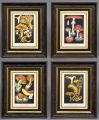Set Four Framed Mushroom Chromolithographs, Circa 1890