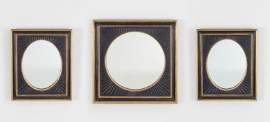 Set of Three Ebonized and Gilded Mirrors
