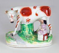 Staffordshire Milkmaid Milking Cow
