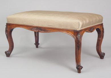 English Antique William IV Carved Rosewood Bench, Circa 1840