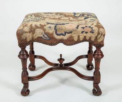 William & Mary Style Walnut Stool