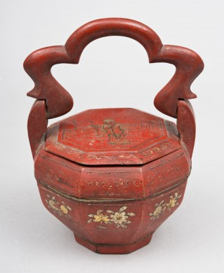 Chinese Red Lacquered Basket