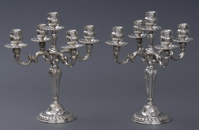 Pair Antique English Silver Plate Candleabra