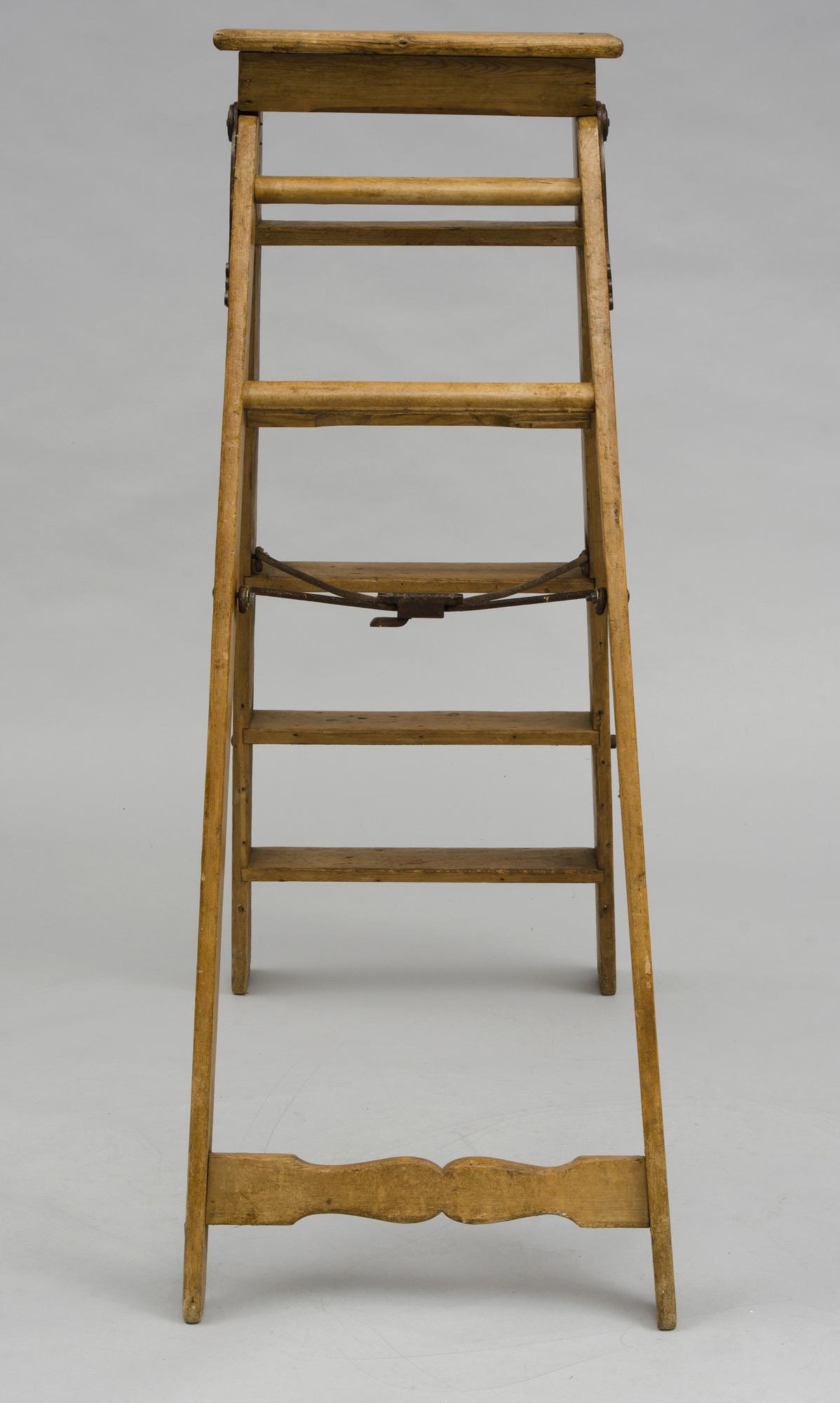 Antique English Victorian Pine Step Ladder Labeled Simplex Ladder