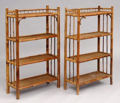 Pair of English Antique Bamboo Open Bookcases